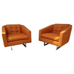 Pair of Mid-Century Modern Upholstered Lounge Chairs, C1965