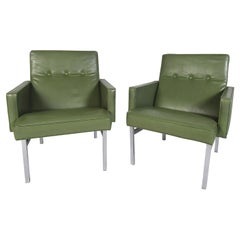 Pair of Mid-Century Modern Vinyl Lounge Chairs