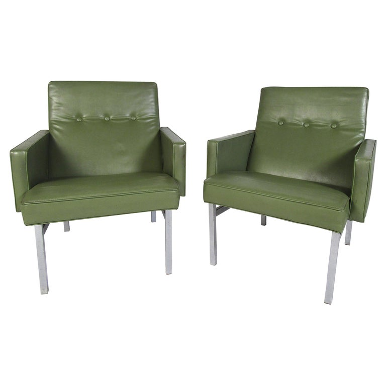 Pair of Mid-Century Modern Vinyl Lounge Chairs For Sale