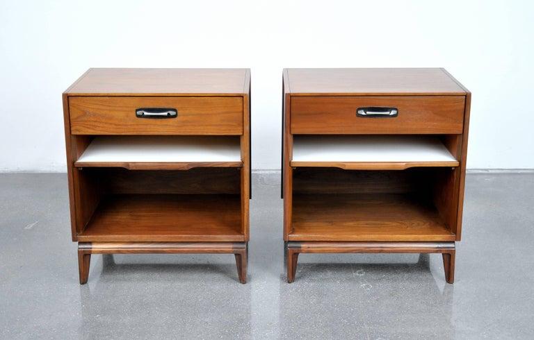 Black Modern Bedside Table: Pair Of Mid-Century Modern Walnut, Black Leather And Steel