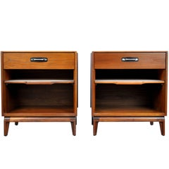 Pair of Mid-Century Modern Walnut, Black Leather and Steel Nightstands