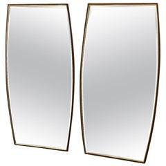 Pair of Mid-Century Modern Walnut and Brass Mirrors