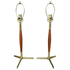 Pair of Mid-Century Modern Walnut and Brass Table Lamps by Gerald Thurston