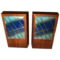 Pair of Mid-Century Modern Walnut and Enamel Bookends by Ernest John