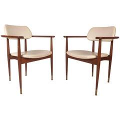 Pair of Mid-Century Modern Walnut Armchairs