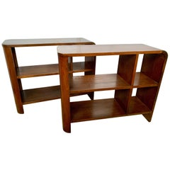 Pair of Mid-Century Modern Walnut Bookshelves Nightstands End Tables Bookcases