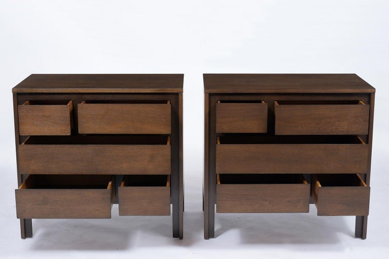 Hand-Crafted Pair of Mid-Century Modern Walnut Dressers For Sale