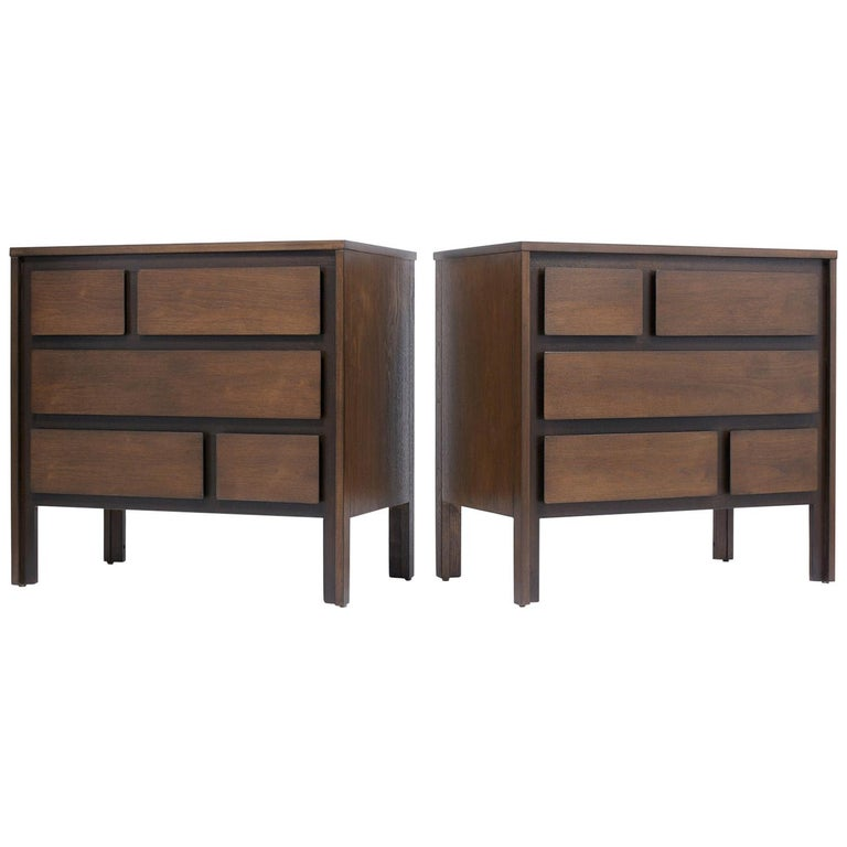 Pair of Mid-Century Modern Walnut Dressers For Sale
