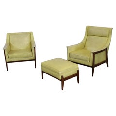 Pair of Mid-Century Modern Walnut Frame His/Her Lounge Chairs with Ottoman