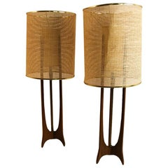 Pair of Mid-Century Modern Walnut Lamps Adrian Pearsall Style