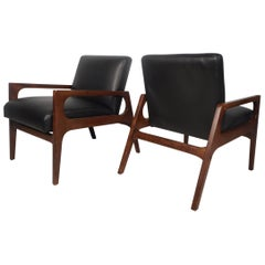 Pair of Mid-Century Modern Walnut Lounge Chairs