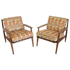 Pair of Mid-Century Modern Walnut Lounge Chairs