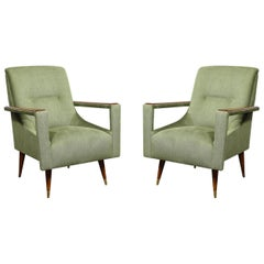 Pair of Mid-Century Modern Walnut & Moss Green Upholstery Arm Cutout Chairs