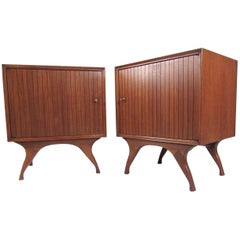 Pair of Mid-Century Modern Walnut Nightstands