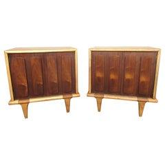 Pair of Mid-Century Modern Walnut & Oak Nightstands by American of Martinsville