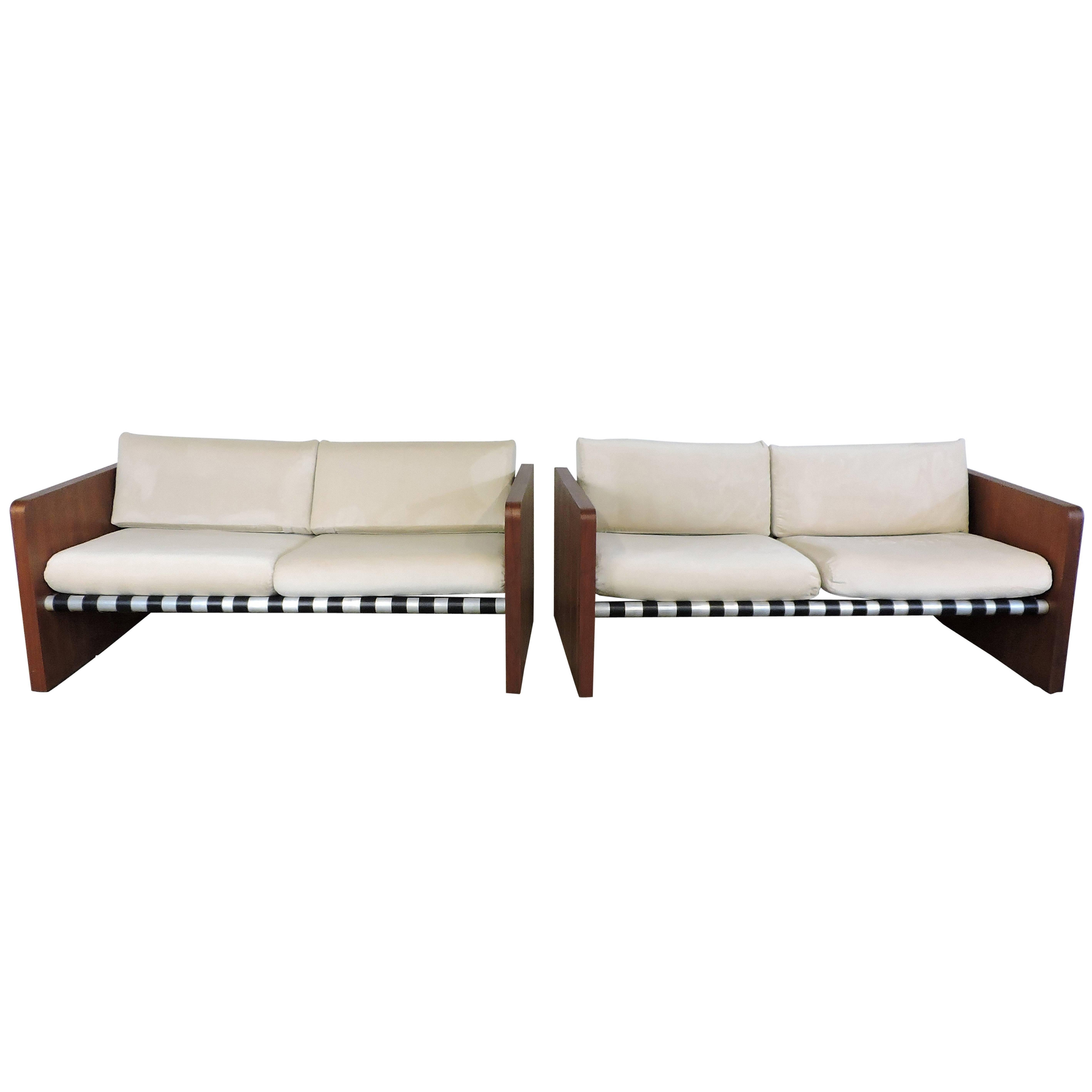 Pair Of Mid Century Modern Walnut Sling Sofas By Founders