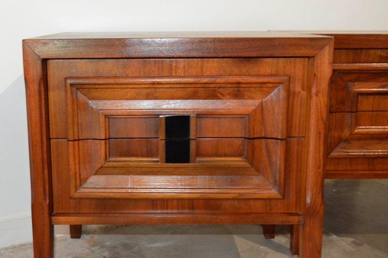 Pair Mid-Century Modern Walnut Veneer and Burl Wood Bedside Nightstands /Tables 8