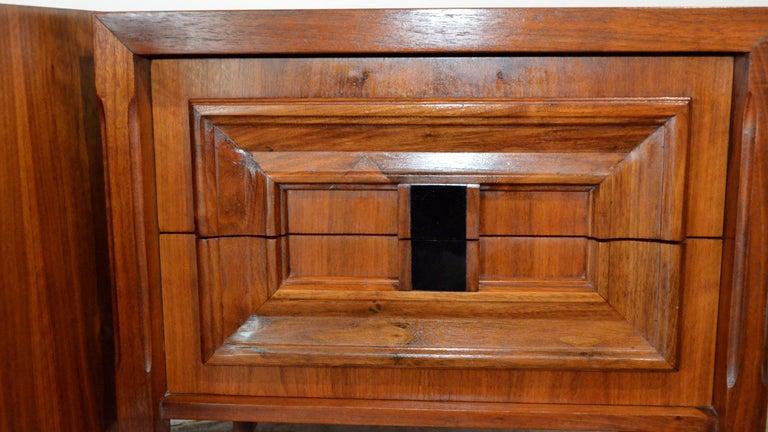 Pair Mid-Century Modern Walnut Veneer and Burl Wood Bedside Nightstands /Tables 9