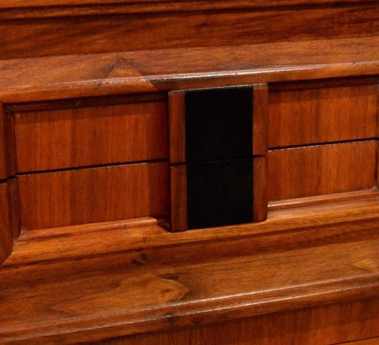 Pair Mid-Century Modern Walnut Veneer and Burl Wood Bedside Nightstands /Tables 12