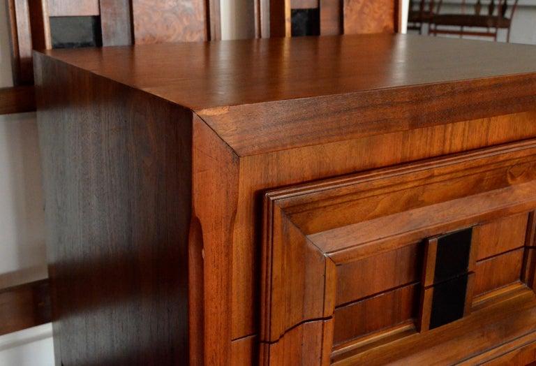 Pair Mid-Century Modern Walnut Veneer and Burl Wood Bedside Nightstands /Tables 13
