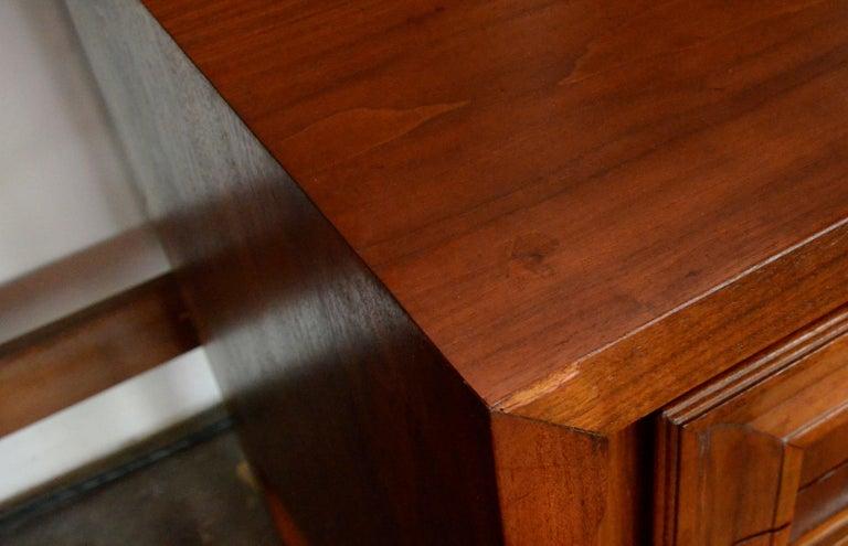 Pair Mid-Century Modern Walnut Veneer and Burl Wood Bedside Nightstands /Tables 14