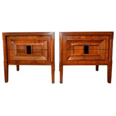 Pair of Mid-Century Modern Walnut Veneer and Burl Wood Bedside Stands /Tables
