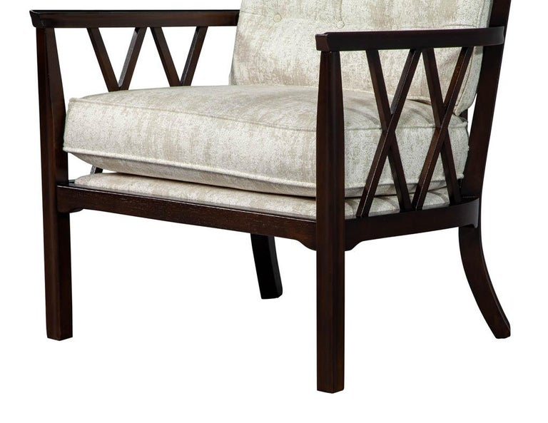 Pair of Mid-Century Modern Walnut X-Back Club Chairs For Sale 5