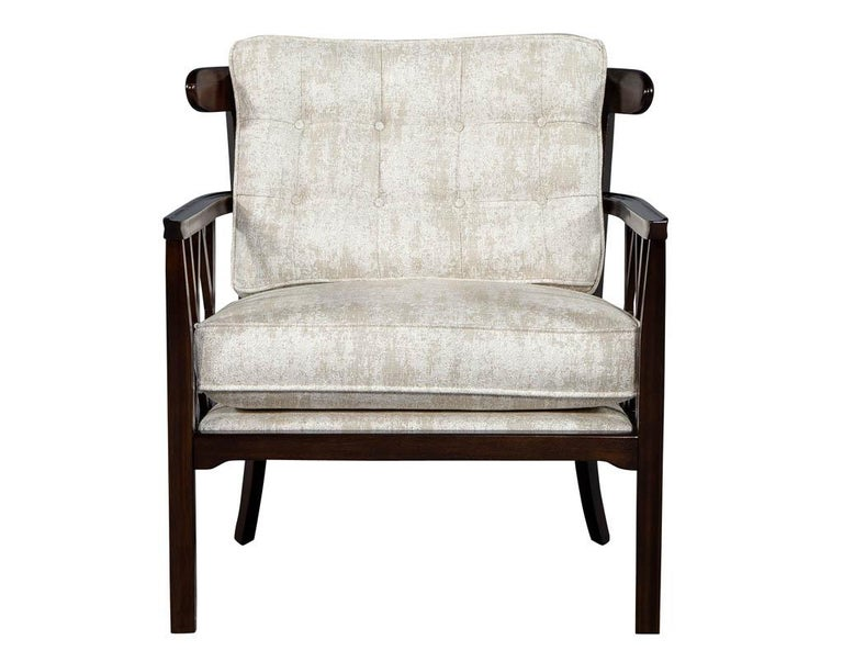 American Pair of Mid-Century Modern Walnut X-Back Club Chairs For Sale