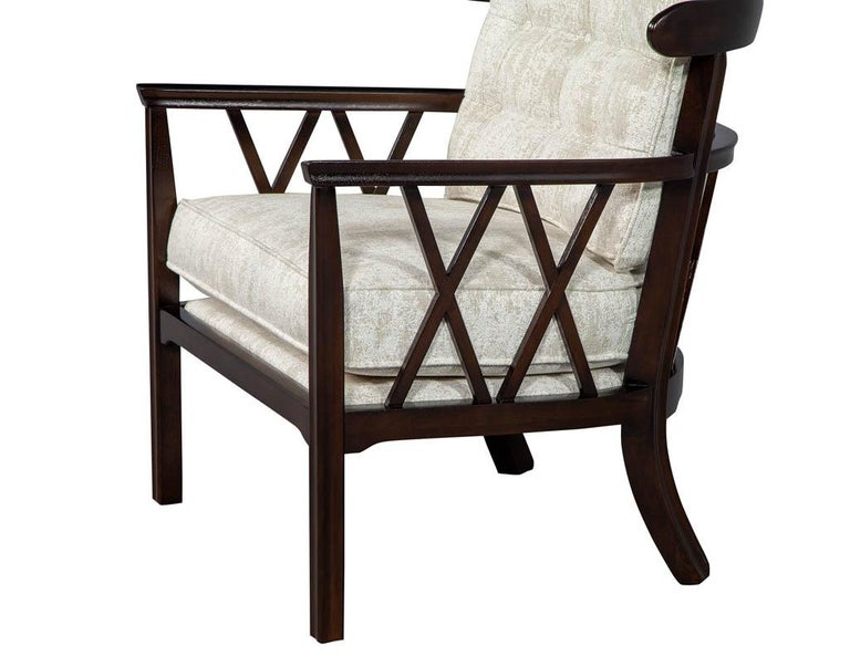 Pair of Mid-Century Modern Walnut X-Back Club Chairs For Sale 3