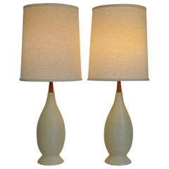 Pair of Mid-Century Modern White Beehive Lamps