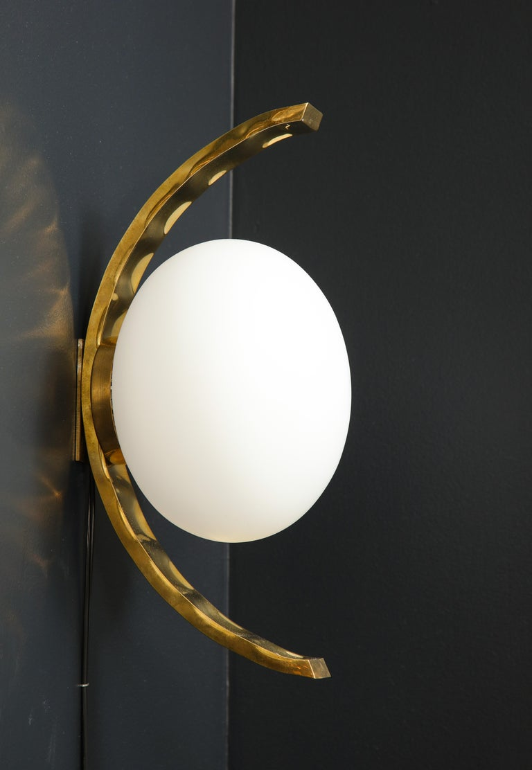 Italian Pair of Mid-Century Modern White Globe and Brass Sconces, Italy For Sale