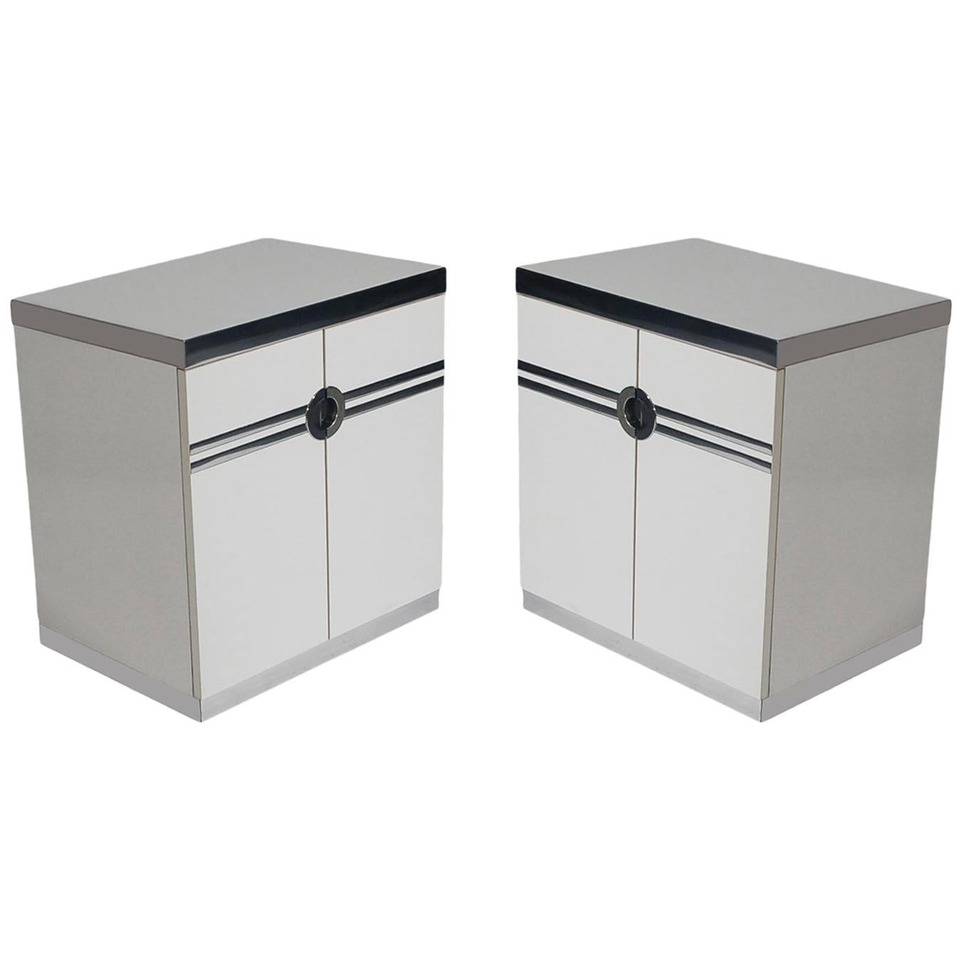 Pair of Mid-Century Modern White Nightstands by Pierre Cardin in Art Deco Form