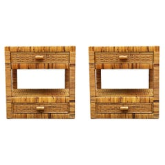 Pair of Mid-Century Modern Wicker or Rattan Woven Night Stands or End Tables