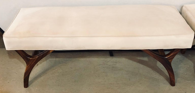 Pair of Mid-Century Modern Window Benches or Stools In Good Condition For Sale In Stamford, CT