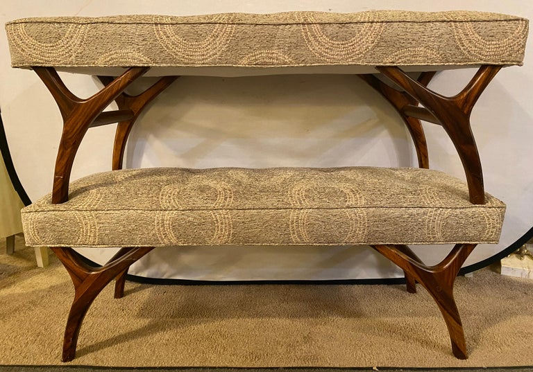 Pair of Mid-Century Modern Window Benches or Stools In Good Condition In Stamford, CT