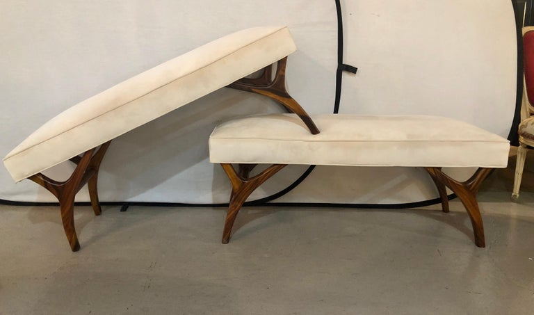20th Century Pair of Mid-Century Modern Window Benches or Stools For Sale