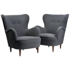 Pair of Mid-Century Modern Wing Chairs Upholstered in Grey Boucle