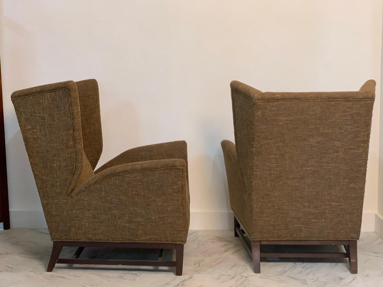 Mid-20th Century Pair of Italian Mid-Century Modern Wingback Lounge Chairs For Sale