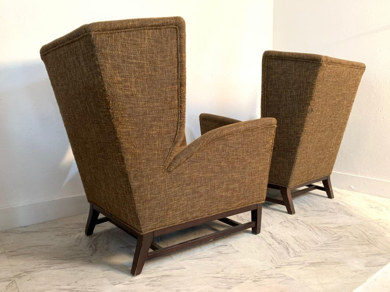 Upholstery Pair of Italian Mid-Century Modern Wingback Lounge Chairs For Sale