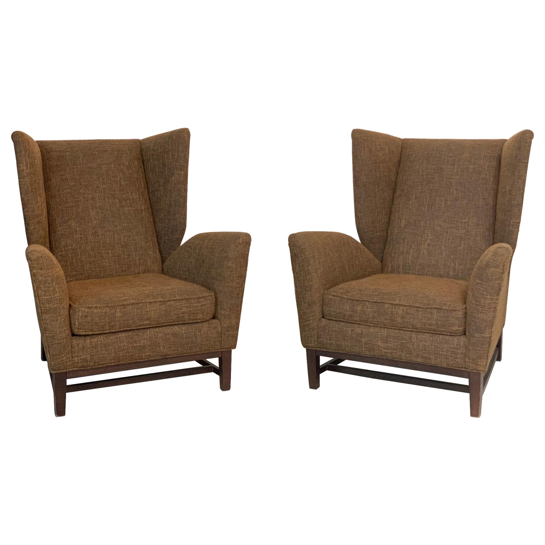 Pair of Italian Mid-Century Modern Wingback Lounge Chairs