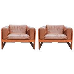 Pair of Mid-Century Modern Wood and Tan Leather Club Chairs by Giuseppe Raimondo