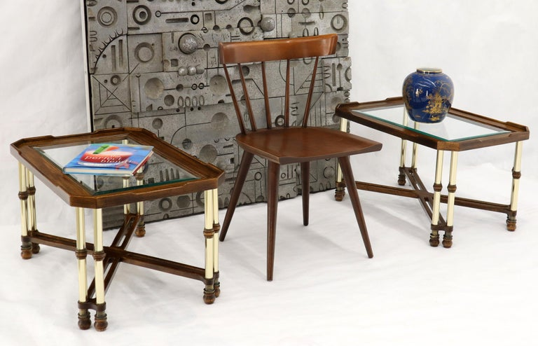 Pair of Mid-Century Modern rectangle glass tops actual polished brass end tables by Knobb Creek. Mastercraft influence.