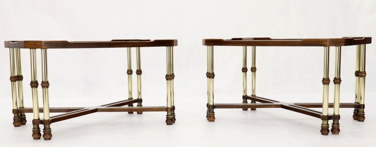 20th Century Pair of Mid-Century Modern X-Bases Glass Tops End Side Tables For Sale