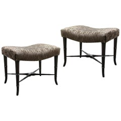 Pair of Mid-Century Modern X-Form Stools in Gauffraged Smoked Bronze Velvet