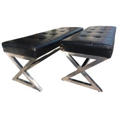 Pair of Mid Century Modern X Frame Benches