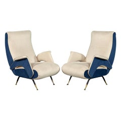 Pair of Mid-Century Modern Zanuso Style Arm Parlor Chairs
