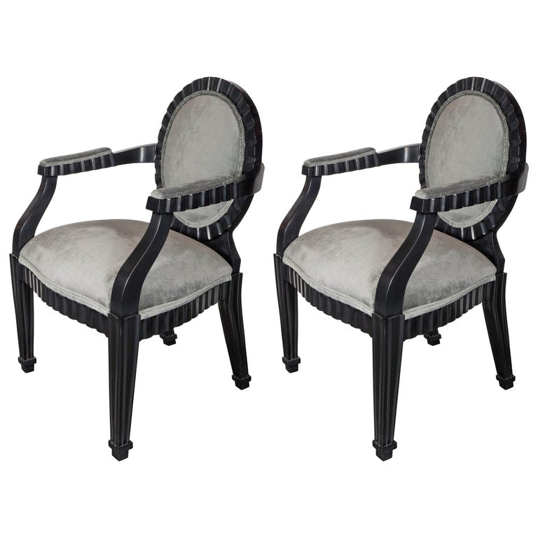 Pair of Mid-Century Modern Chairs by Donghia in Ebonized Walnut For Sale