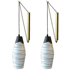Pair of Mid-Century Modernist Czech Black & White Hand-Painted Glass Wall Lights