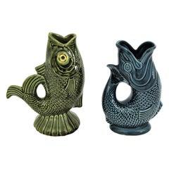 Pair of Mid-Century Modernist Glazed Ceramic Gurgle Fish Water Jugs / Pitchers