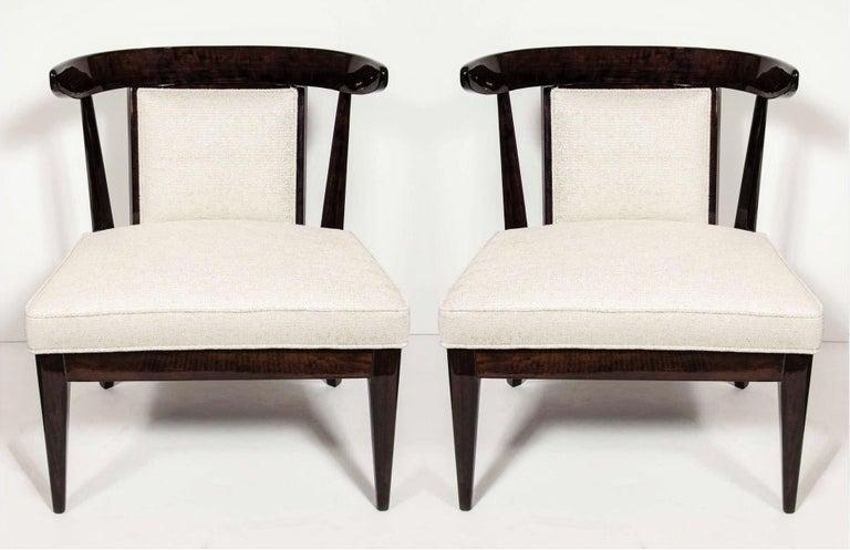 American Pair of Mid-Century Modernist Klismos Slipper Chairs For Sale